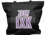 Iota Chi Kappa Tote Bag with Greek Letters and Founding Year, Black