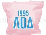 Lambda Omicron Delta Tote Bag with Greek Letters and Founding Year, Pink