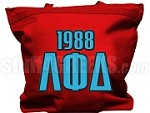 Lambda Phi Delta Tote Bag with Greek Letters and Founding Year, Red