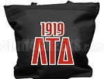 Lambda Tau Delta Tote Bag with Greek Letters and Founding Year, Black