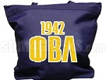 Phi Beta Lambda Tote Bag with Greek Letters and Founding Year, Navy Blue