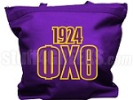 Phi Chi Theta Tote Bag with Greek Letters and Founding Year, Purple