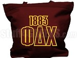 Phi Delta Chi Tote Bag with Greek Letters and Founding Year, Maroon