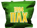 Pi Lambda Chi Tote Bag with Greek Letters and Founding Year, Kelly Green