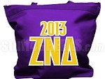 Zeta Nu Delta Tote Bag with Greek Letters and Founding Year, Purple