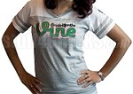 Do It For The Vine Embroidered Powder Puff Tee, Gray/White