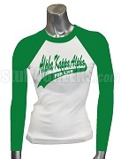 Alpha Kappa Alpha For Life Raglan T-Shirt, White/Kelly Green