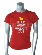 Diva Duck Keep Calm and Walk It Out T-Shirt, Red Embroidered T-Shirt