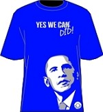 """Yes We Did"" Obama T-Shirt, Royal/White"