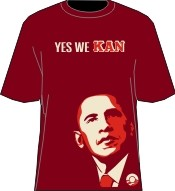"Kappa Alpha Psi ""Yes We Kan"" Obama T-Shirt, Crimson/Cream"