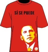 """Si Se Puede"" Obama T-Shirt, Red/Yellow"