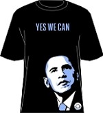 """Yes We Can"" Obama T-Shirt, Black/Columbia Blue"