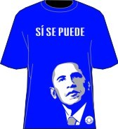 """Si Se Puede"" Obama T-Shirt, Royal/White"