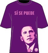 """Si Se Puede"" Obama T-Shirt, Purple/Pink"