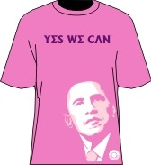 """Yes We Can"" Obama T-Shirt, Pink/Purple"