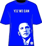 """Yez We Can"" Obama T-Shirt, Royal/White"