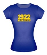 1922 Sigma Gamma Rho Ladies Fitted Tee, Royal Blue - EMBROIDERED with Lifetime Guarantee