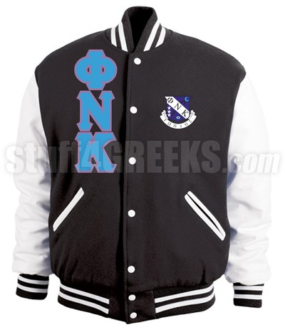 Phi Nu Kappa Greek Letter Varsity Letterman Jacket with Crest, Black/White