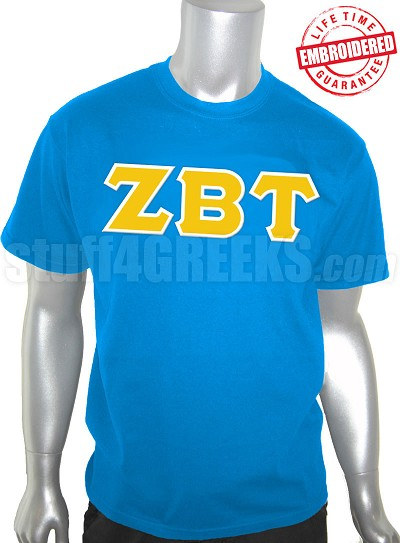 Zeta Beta Tau Greek Letter T-Shirt, Columbia Blue - EMBROIDERED with Lifetime Guarantee