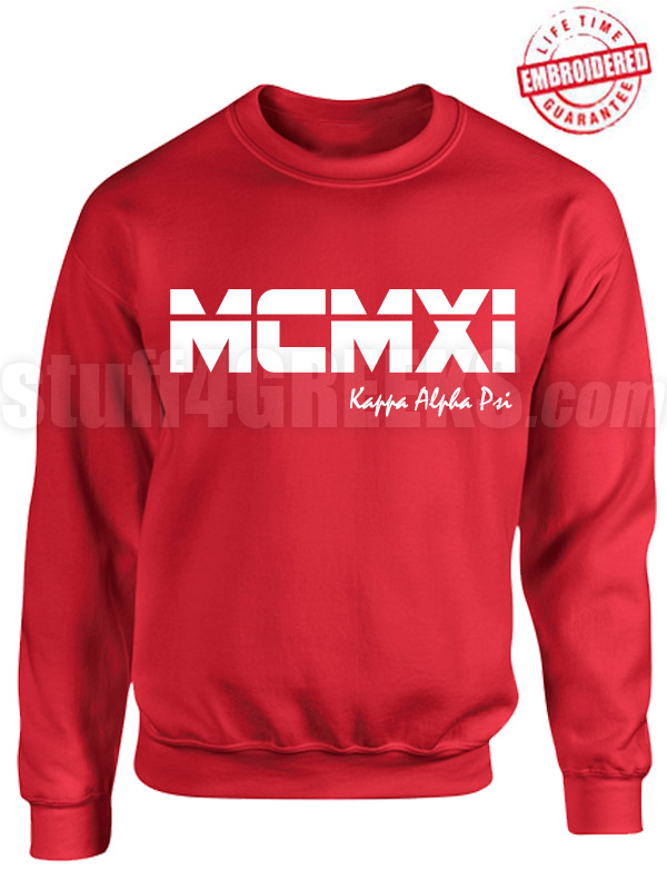 Kappa Alpha Psi Roman Numeral Founding Year Crewneck Sweatshirt - Lifetime Embroidery Guarantee