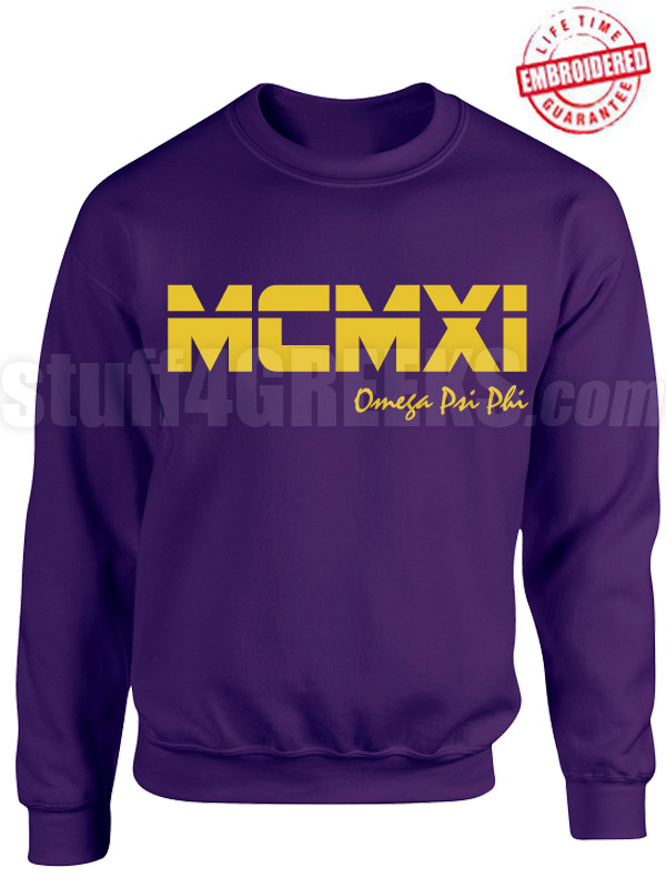Omega Psi Phi Roman Numeral Founding Year Crewneck Sweatshirt - Lifetime Embroidery Guarantee