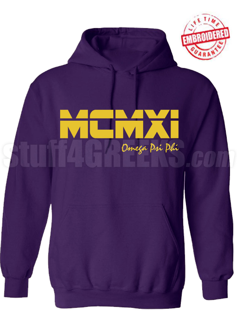 Omega Psi Phi Roman Numeral Founding Year Pullover Hoodie - Lifetime Embroidery Guarantee