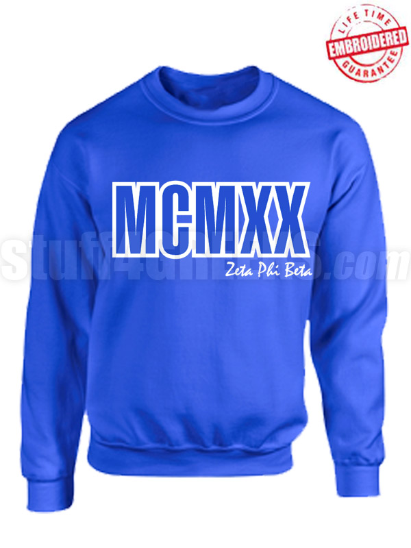 Zeta Phi Beta Roman Numeral Founding Year Crewneck Hoodie - Lifetime Embroidery Guarantee