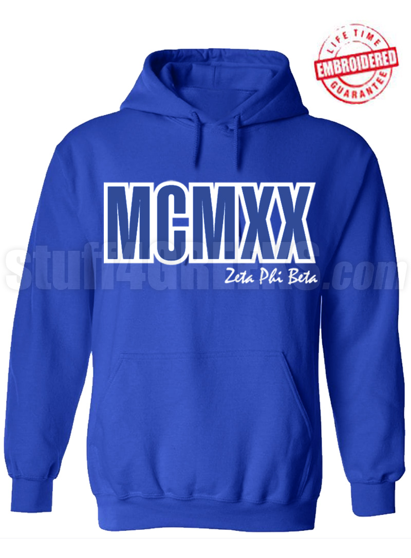 Zeta Phi Beta Roman Numeral Founding Year Pullover Hoodie - Lifetime Embroidery Guarantee