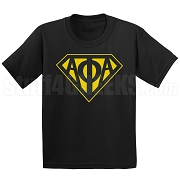 Alpha Phi Alpha Screen Printed T-Shirt with Greek Letters Inside Superman Shield, Black