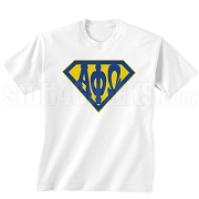 Alpha Phi Omega Screen Printed T-Shirt with Greek Letters Inside Superman Shield, White