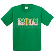 Alpha Kappa Alpha Screen Printed T-Shirt with Crest and Founding Year, Kelly Green