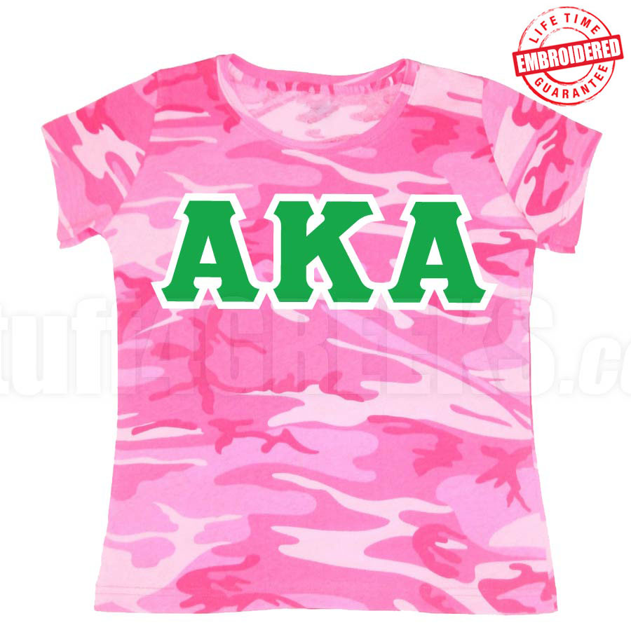 b92d15e6082 Alpha Kappa Alpha Pink Camo T-Shirt - EMBROIDERED with Lifetime ...