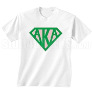 Alpha Kappa Alpha Screen Printed T-Shirt with Greek Letters Inside Superman Shield, White