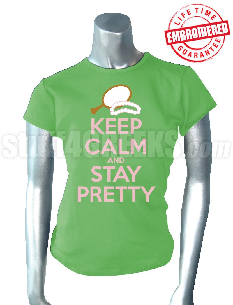 Alpha Kappa Alpha Keep Calm T Shirt Key Lime Green