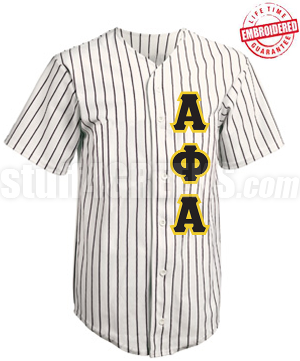 promo code 4855a ee4bd Alpha Phi Alpha Cloth Pinstripe Baseball Jersey with Greek Letters (TW) -  EMBROIDERED WITH LIFETIME GUARANTEE