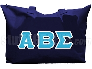 Alpha Beta Sigma Tote Bag with Greek Letters, Navy Blue