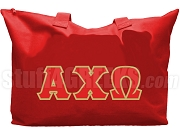 Alpha Chi Omega Tote Bag with Greek Letters, Red
