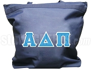 Alpha Delta Pi Tote Bag with Greek Letters, Navy Blue