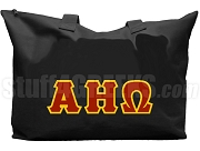 Alpha Eta Omega Tote Bag with Greek Letters, Black