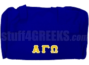 Alpha Gamma Omega Greek Letter Duffel Bag, Royal Blue
