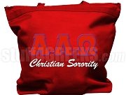 Alpha Lambda Omega Tote Bag with Greek Letters, Red