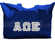 Alpha Omega Epsilon Tote Bag with Greek Letters, Royal Blue