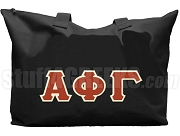 Alpha Phi Gamma Tote Bag with Greek Letters, Black
