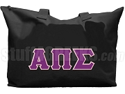 Alpha Pi Sigma Tote Bag with Greek Letters, Black