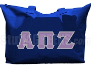 Alpha Pi Zeta Tote Bag with Greek Letters, Royal Blue