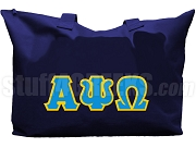 Alpha Psi Omega Tote Bag with Greek Letters, Moonlight Blue