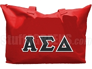 Alpha Sigma Delta Tote Bag with Greek Letters, Red
