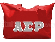 Alpha Sigma Rho Tote Bag with Greek Letters, Red