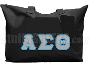 Alpha Sigma Theta Tote Bag with Greek Letters, Black
