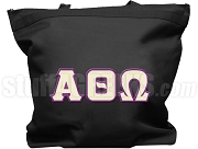 Alpha Theta Omega Tote Bag with Greek Letters, Black